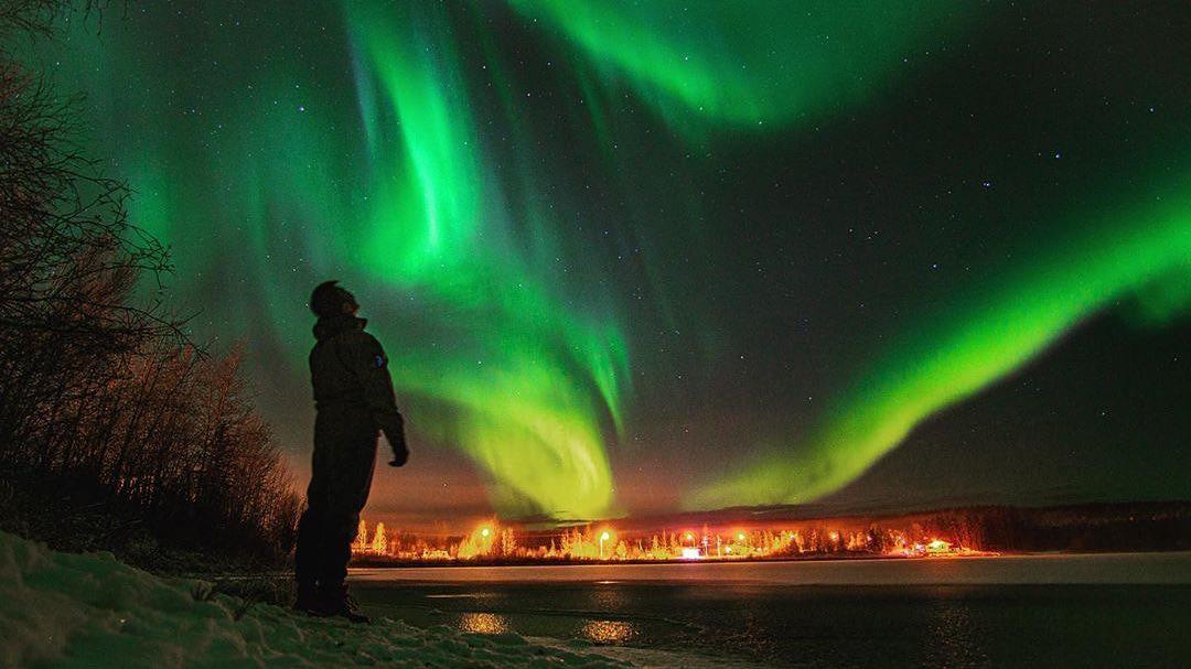تصویر شفق قطبی در یورکن کانادا