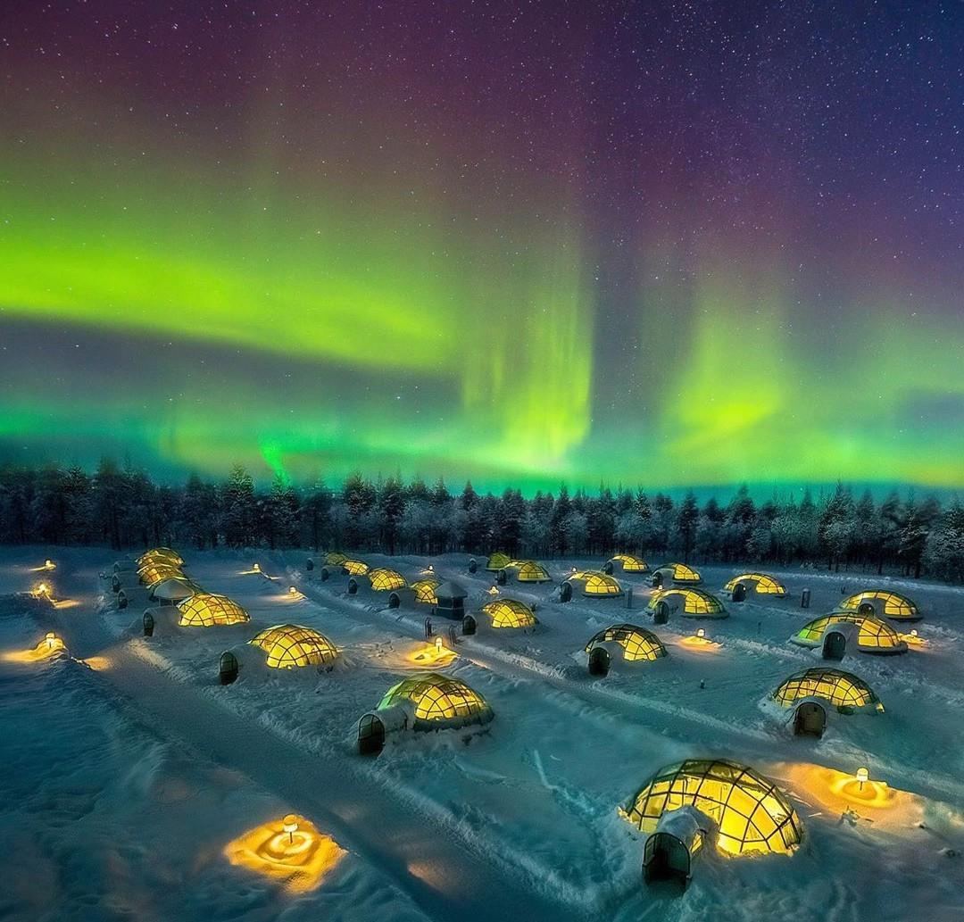 تصویری از شفق قطبی در اکسلاتانن - فنلاند