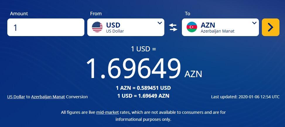 نرخ تبدیل منات آذربایجان به دلار امریکا در زمستان 98